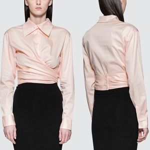 Opening Ceremony Sateen Wrap Top Blush Pink